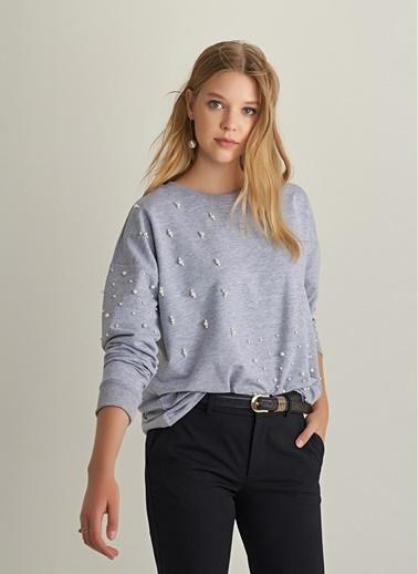 NGSTYLE İnci İşlemeli Sweatshirt Gri